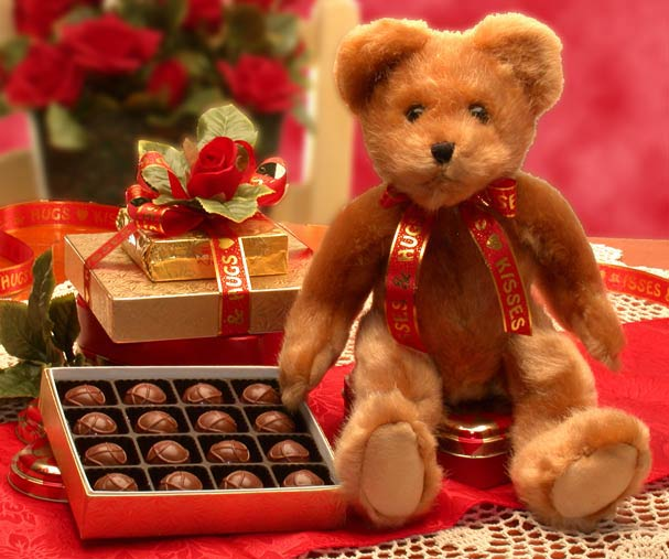 Hugs & Kisses Teddy Bear with Chocolates - Small