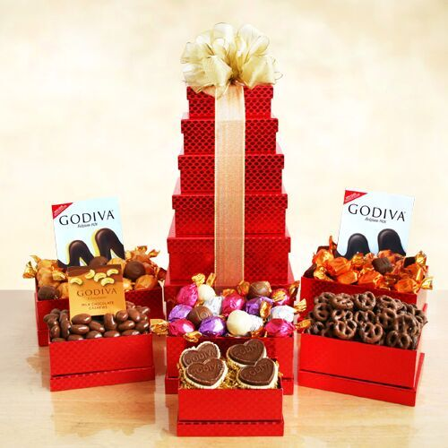 Godiva Valentine Red Tower Gift