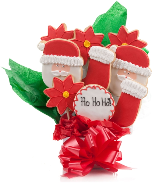 HoHoHo Jolly Santa Cookie Bouquet 9 Pc